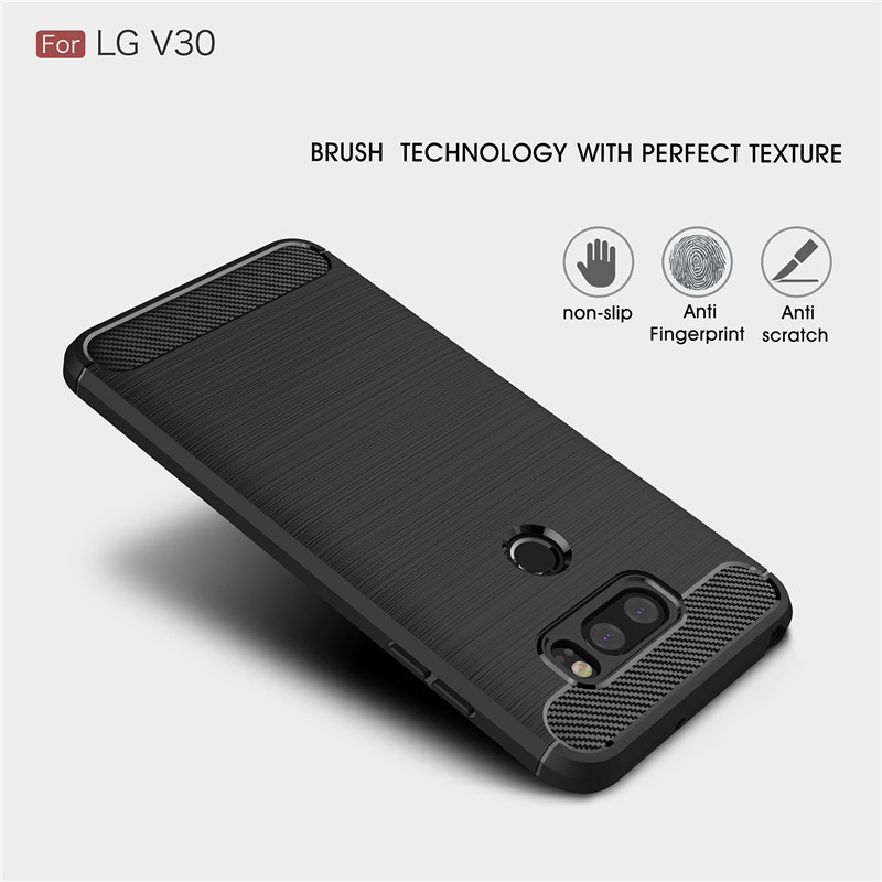 Wholesale Hybrid Carbon Fiber Rugged Armor Silicone Soft Mobile Phone Cover Case for LG V30 Cell Phone Case for LG V30