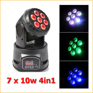 7x10w 4-in-1 RGBW led moving head stage lighting equipment 10W rgbw 4in1 mini led moving head
