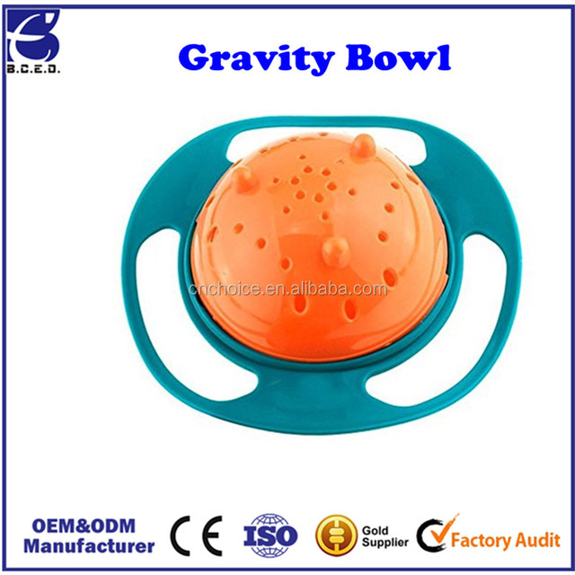 Children Baby Kid Spill-Proof Food Gyro Feeding Bowl Dish 360 degree Rotate lid