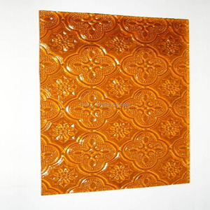 Clear,Amber,Bronze,Blue Flora Patterned Glass
