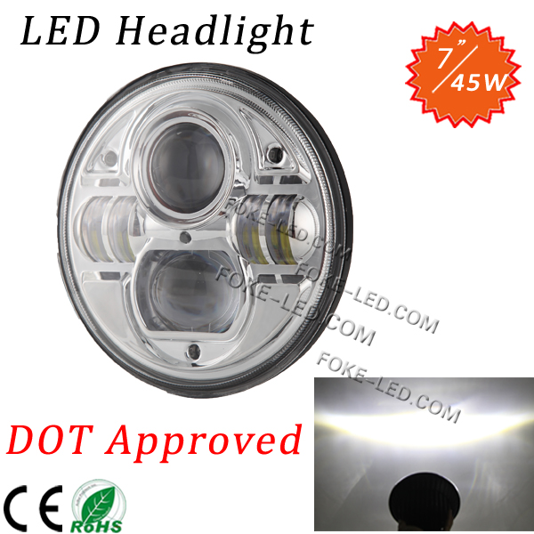 DOT high low beam light 7inch led headlamp 45w wrangler harley head light with black and chrome
