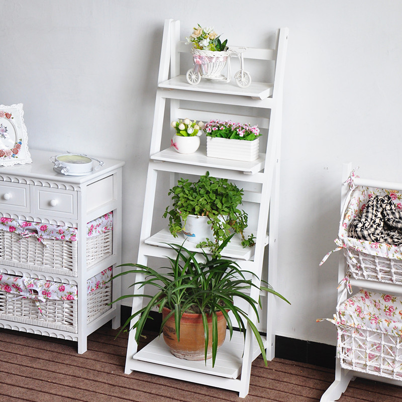 Decoration folding Wooden Plant Stand With four <strong>Shelves</strong> / Wooden Flower pot
