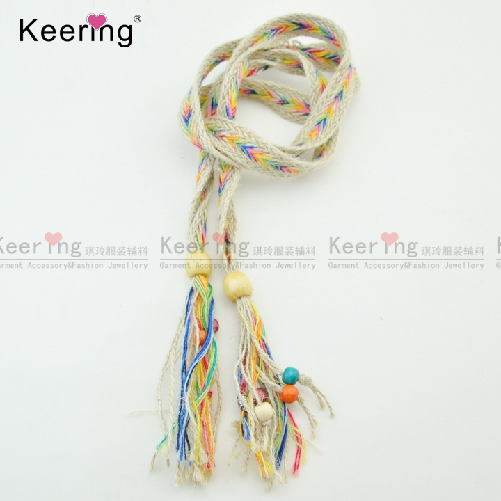 Fashion fancy straw rope knitting cotton belt tassel cord for clothing WTR-046