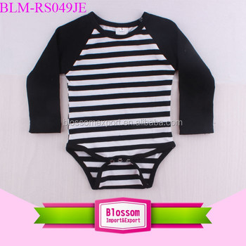 New Born Baby Clothing Infant Cotton Raglan Onesie Long Sleeve Toddler Black White Striped Bodysuit Baby Raglan Romper