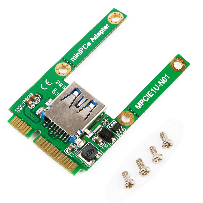 Pulison Integrated Circuits PC Mini PCI-E PCI Express to USB 2.0 Adapter Extender Riser Card Expansion