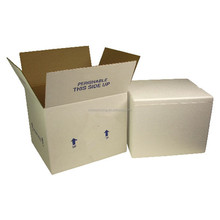 White color styrofoam box with cardboard box for perishable foods shipping