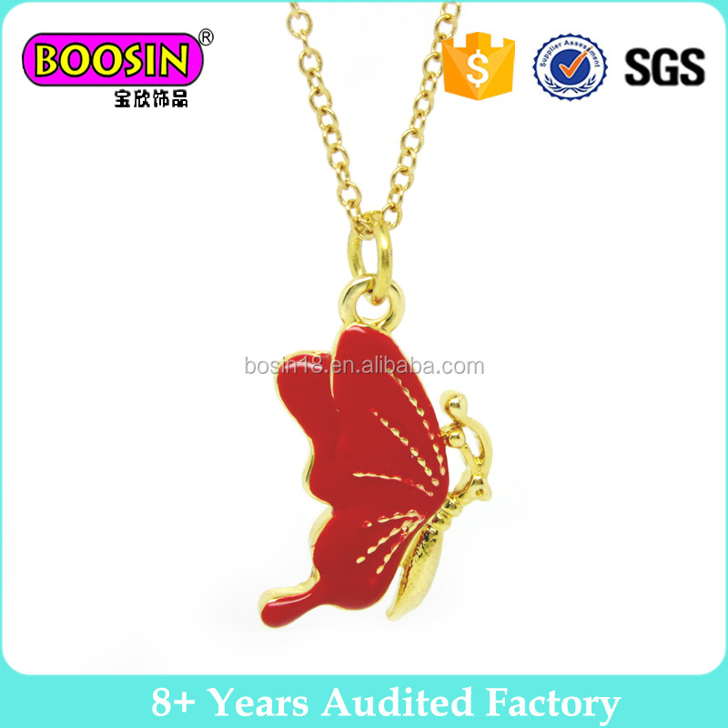 Elegant Red Enameled Gold Butterfly And Metal Chain Pendant Necklace For Kids #B641