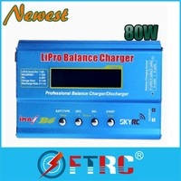 New 80W 6A LCD Digital Charging Discharger 3s 4s 5s 6S 11.1v 7.4v-22.2v RC iMAX B6 Lipo NiMH Battery Balance Charger Adapter