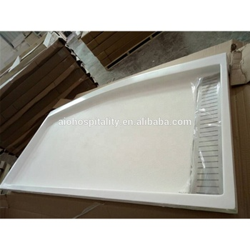 "Cultured Marble Shower Pan 60""x34"" Curved Front Trench Drain Shower Pan with textured non slip floor"