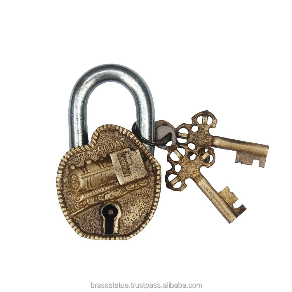 Pad Lock Antique finish Brass and Iron Lock with two keys