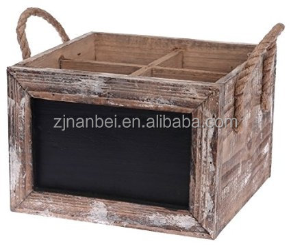 Vintage wooden chalkboard wine carrier, wood bottle tote with handle