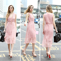 2018 Fashion Deep V Neck Pink Sleeveless Dress for Women