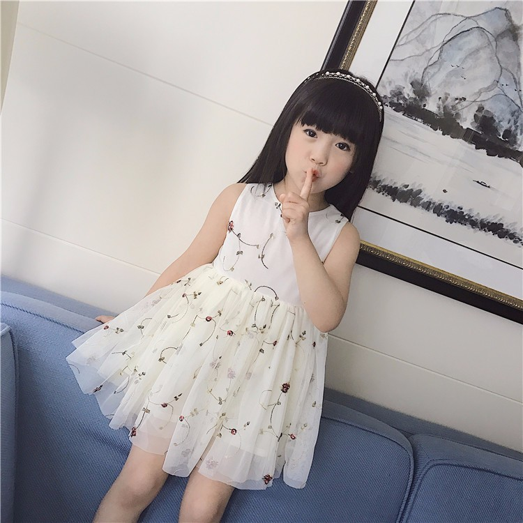 2017 New arrived wholesale fashion kids puffy chiffon vest dress clothes for children girl