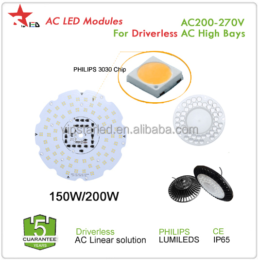 AC DOB 220v 5 years warranty IP65 CE SAA TUV 200W 150w driverless led UFO high bay light ac led module