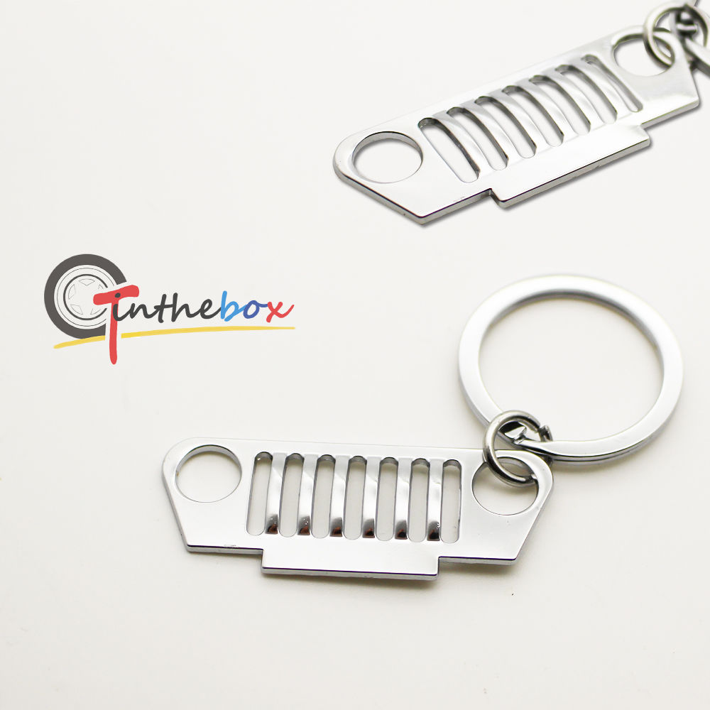 Silver Chrome Front Bumper Grill Shape Key Chain Ring Keychain For Jeep