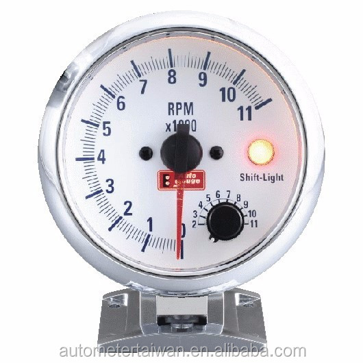 "3 3/4"" tachometer with white face &chrome rim / 0~11,000 rpm"