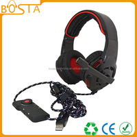 Computer accessory 7.1 sound track LED ODM cheap USB gamer headsets for xbox