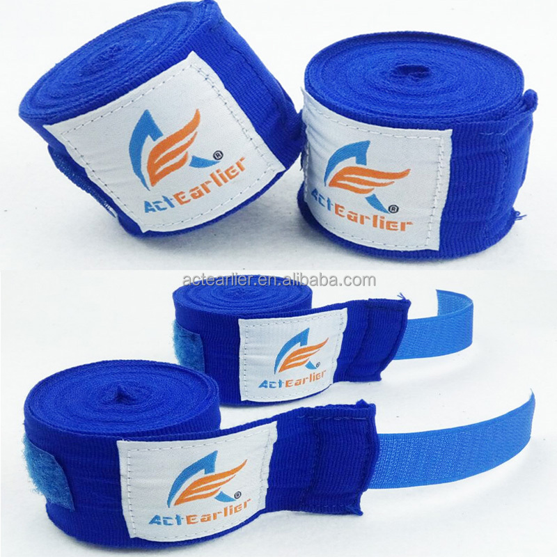 3m 5m actearlier 100% cotton elastic black blue red pink yellow custom boxing hand wraps