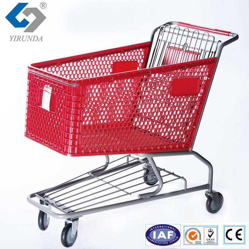 New metal frame plastic shopping trolley cart with baby seat