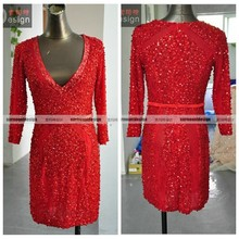Hot Sale Real Sample Deep V-neck Heavy Beaded Long Sleeves Short Red Cocktail Dress