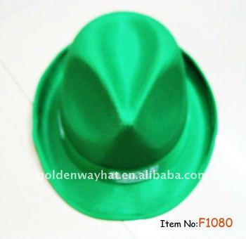 cheap Fashion Green Fedora promotional Hat PP hats with custom logo