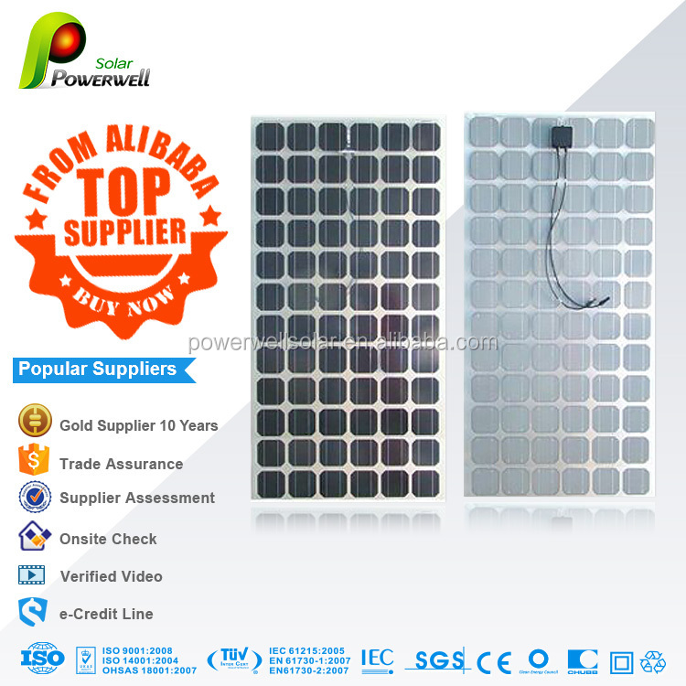 Powerwell import solar panels mono 200w from china with IEC61215,TUV,UL,CE
