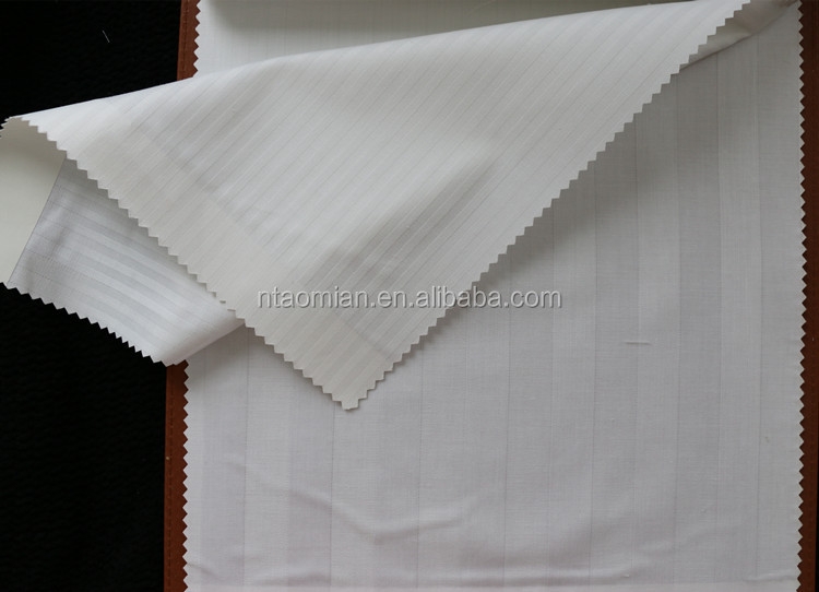 cvc 40x40 white satin stripe bedsheet fabric