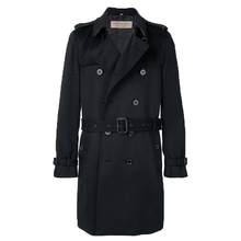 Dark blue mid-length trench coat long sleeves men coat with buckle strap cuffs epaulettes and full lining woolen coat