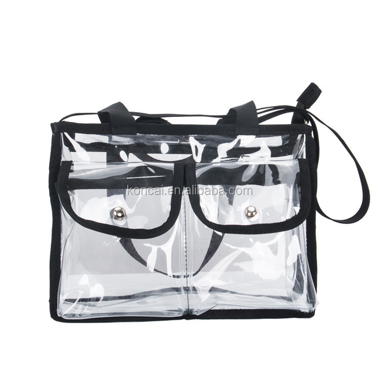 Travel Custom Clear Pvc Cosmetic Bag Zipper Makeup Bag Carring Handbag KC-CZ01W