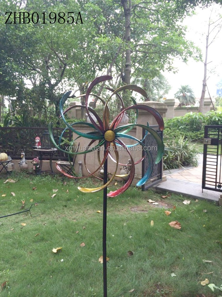 2017 new metal windmill garden stake ornament, Garden Wind Spinners Stake
