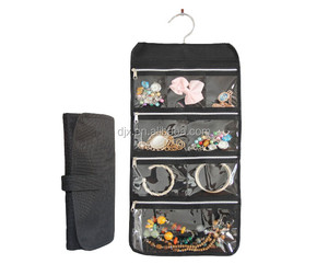 Hanging Jewelry Organizer Travel Jewelry Roll Storage Bag Portable Women storage organizer Necklace, Earrings, Rings, Bracelets