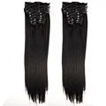 Hot sale top quality natural color human hair extensions easy wear clips in hair extension cheap price indian hair products