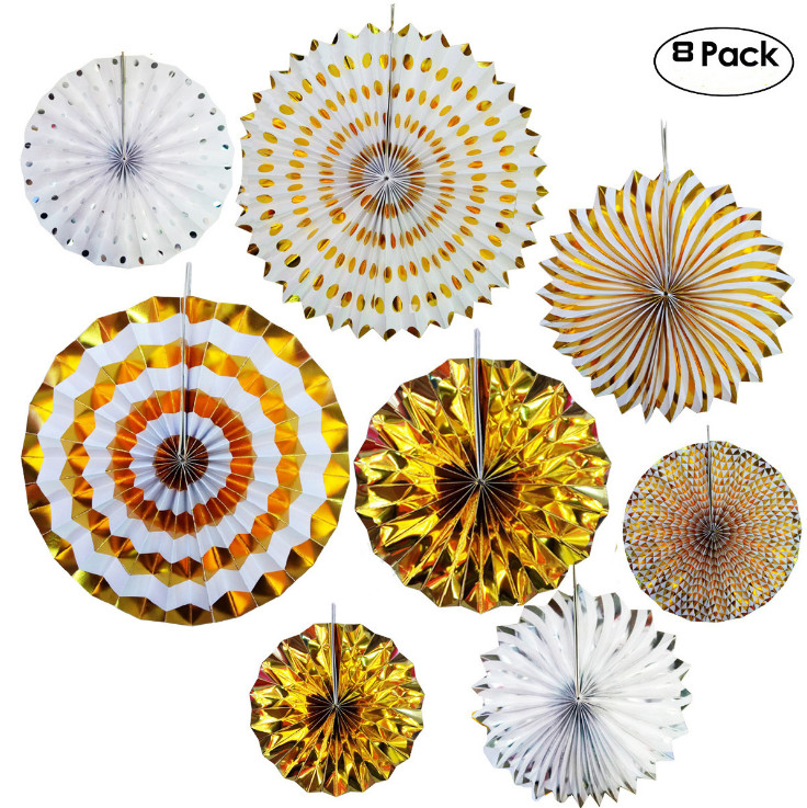 (8pcs pack)Hot Sale High Quality Party Decoration Gold HandMade Tissue Paper Fans For Wedding and Birthday Party Decoration