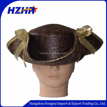 Fashion adults leather gold ribbon wholesale pirate cowboy hat