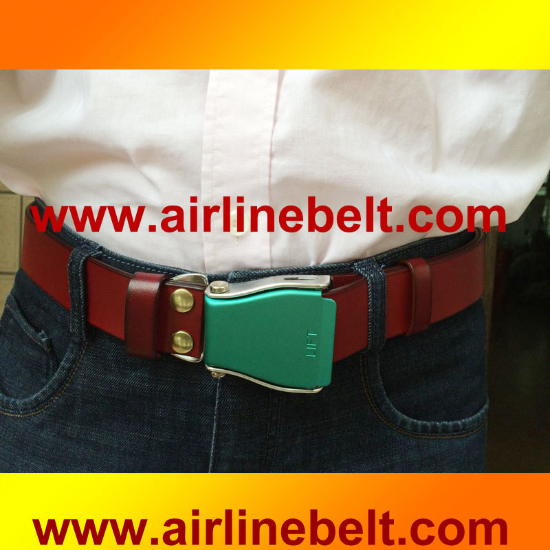 Latest design airplane seatbelt buckle genuine leather belts