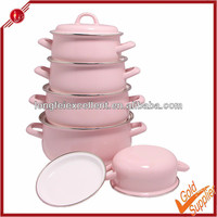 New design delegant 5pcs hot pink pots and pans cookware set