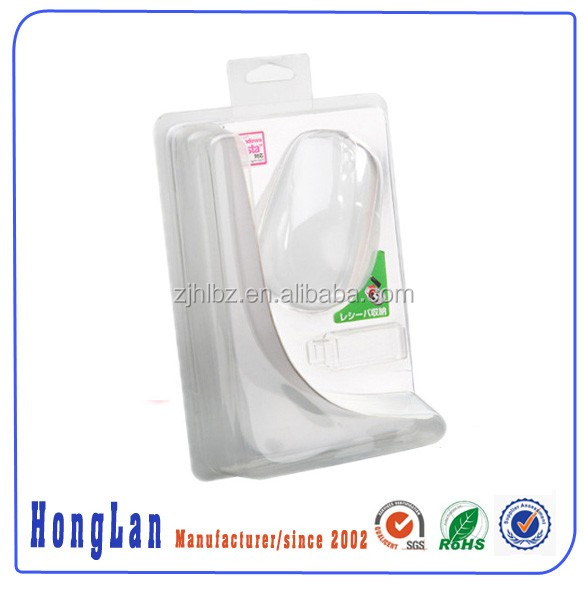 Customized Blister Clam Packaging For Mobile Mouse Electronics with printed card ang hinged hole