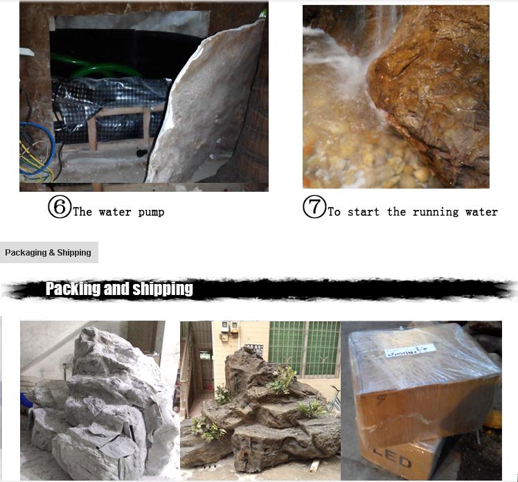 Latest design fiberglass rock waterfall artificial rock for Artificial waterfalls design