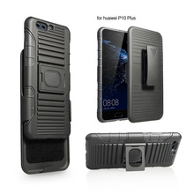 Factory price tpu pc combo robot holster case for huawei p10 plus with kickstand