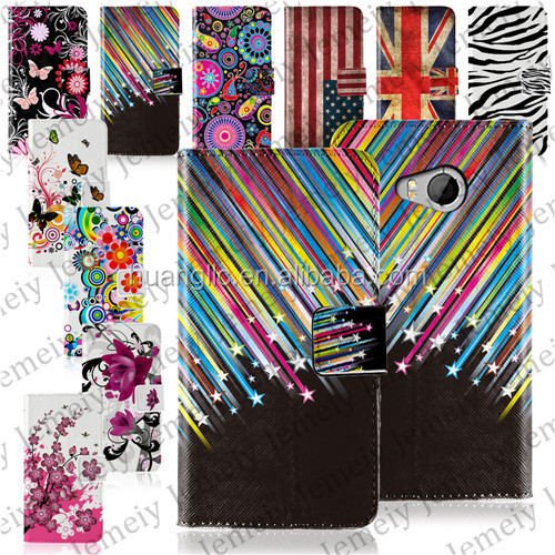 For HTC One Mini <strong>2</strong> Various Flower Printing Premium PU Leather Pouch Skin Flip Wallet with Card Slots and Cash Compartment Case
