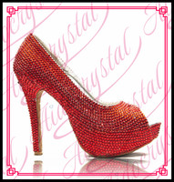 Aidocrystal Wholesale Red Crystal Rhinestone Diamond 14cm High Heels Women Bridal Wedding Shoes Women Big Size 42 43