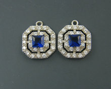 Sapphire Blue Brass White Double Halo Cubic Zirconia Earring Findings Pendant Charms