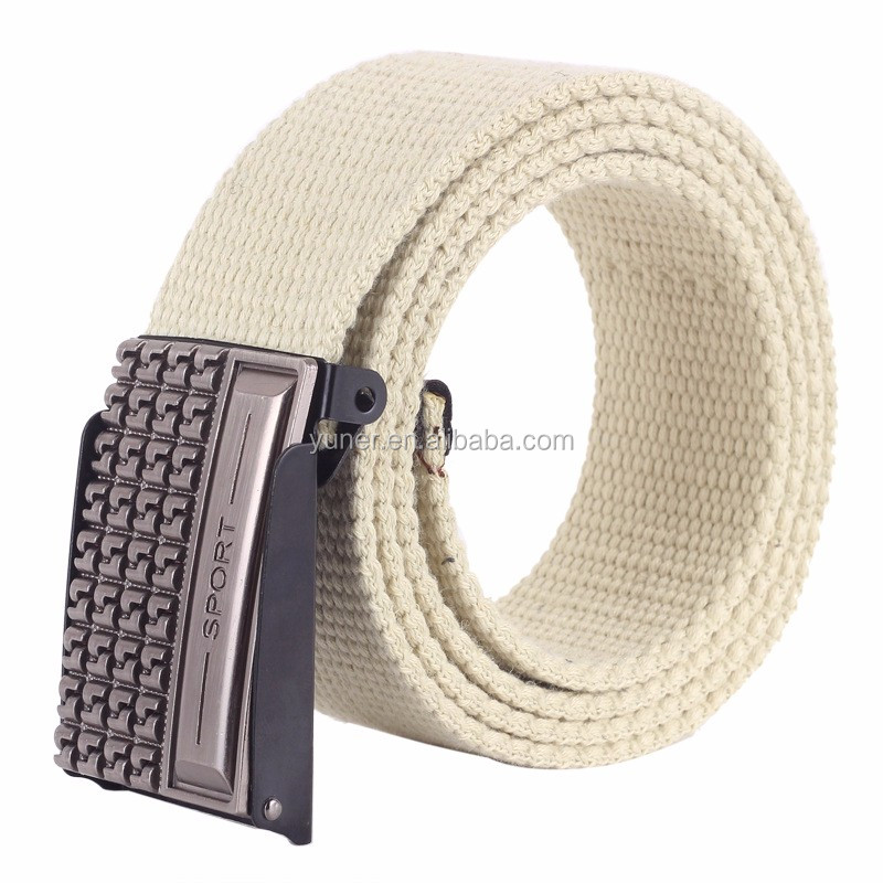 Wholesale Fabric Belts jeans in stock Canvas belt woven Weaving cotton Plate buckles Men's belt