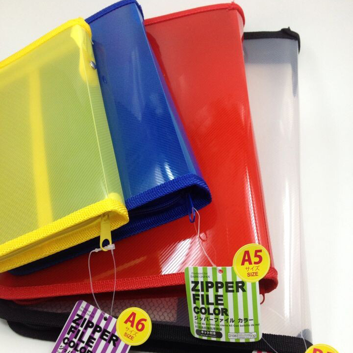 a456 b5 plastic colored plastic folder with zipper around and pockets