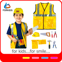Kids educational construction worker role play pretend toys kit, cosplay costumes for boys