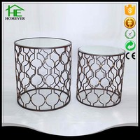 round metal mesh wire household glass coffee table