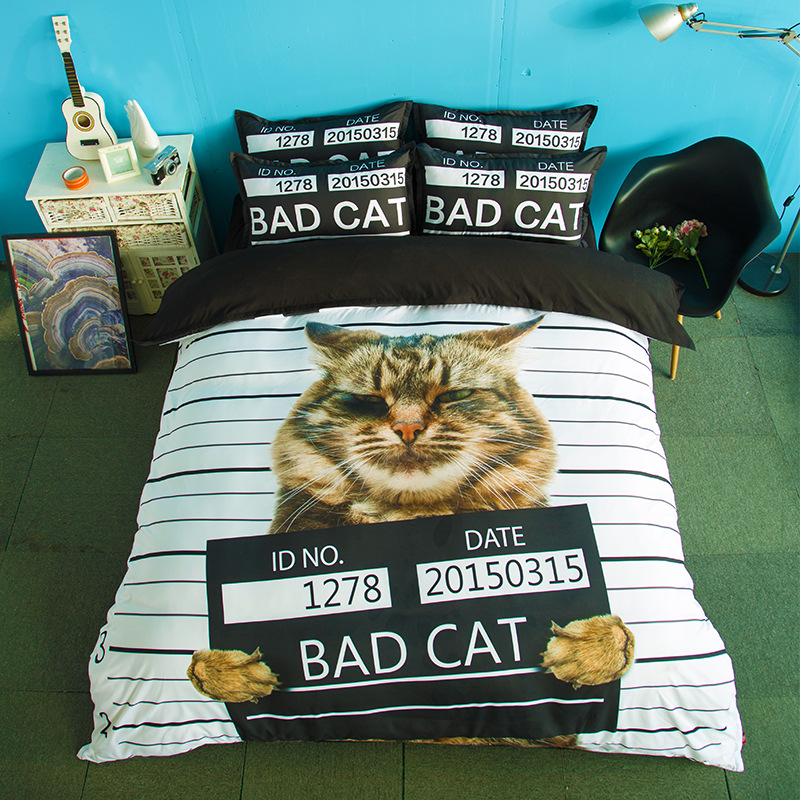 3d cat digital print children kids 100% polyester bed sheet bedding set