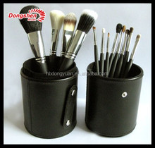 classical natural hair 12 piece makeup brush set with black brush holder