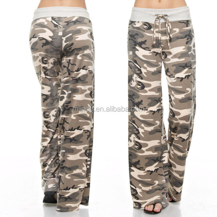 Wholesale CUSTOM Women Fashion Long Loose Fitted Wide Leg lanner Casual Camo Lounge Flannel Pants Wholesale High Quality