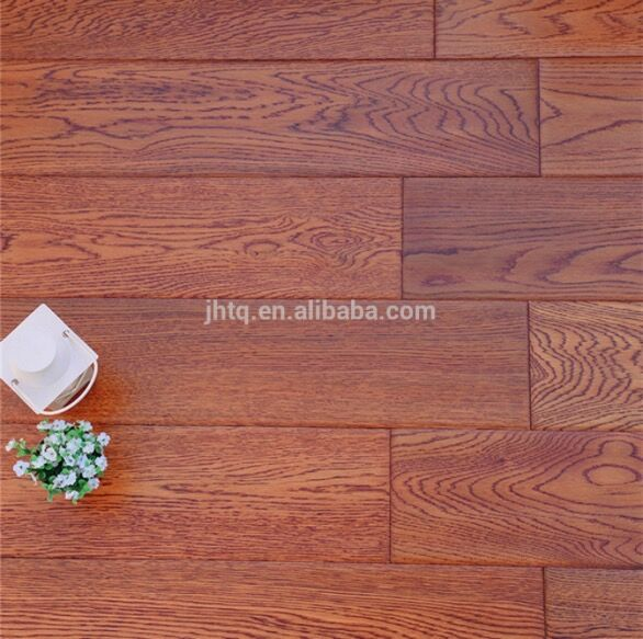 <strong>Oak</strong> Handscrape Surface Multilayer Engineered Wood Flooring Red Color 777#